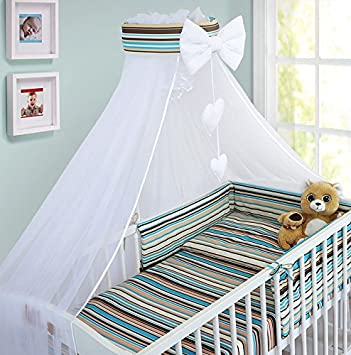 Sheep Turquoise LUXURY 10Pcs BABY BEDDING SET COT BED PILLOW DUVET COVER BUMPER CANOPY to Fit Cot Bed Size 140x70cm 100/% COTTON