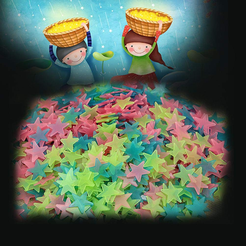 Brillie 100 Pcs /Étoiles Stickers Muraux Fluorescence Autocollants Lueur dans Les /Étoiles Noires Autocollants Muraux Creative Lumineux Enfants Chambre Mur D/écor pour B/éb/é P/épini/ère Chambre des Enfants