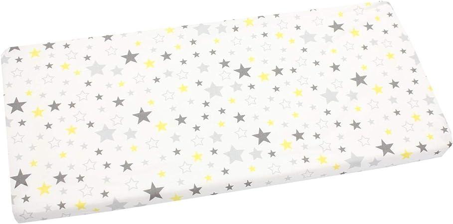 TupTam S/ábana Adjustable para Cuna con Motivos para Beb/é Estrellas Amarillo//Gris 70 x 140 cm