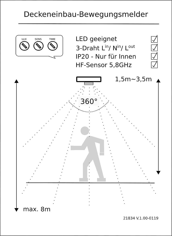 Empotrable HF Detector de movimiento 360 ° con sensor crepuscular - Alta frecuencia Radar HF 5,8 GHz - LED Adecuado - 1 W hra-1200 W 230 V: Amazon.es: ...