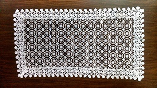 Table Runner with Country Flowers and Lace, Size 16 x 56 inches