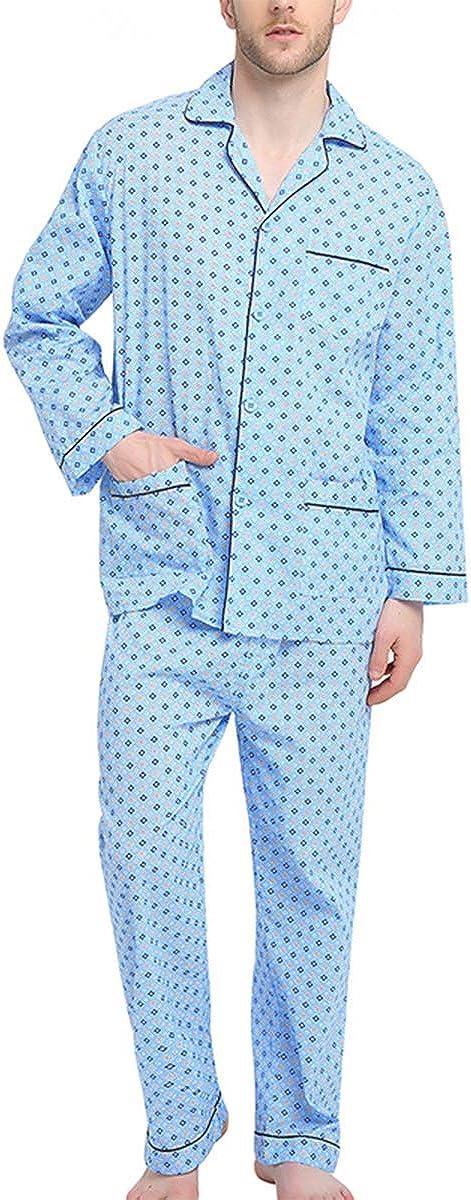 Vintage Men's Underwear GLOBAL Mens Pajamas Set 100% Cotton Woven Drawstring Sleepwear Set with Top and Pants/Bottoms $27.99 AT vintagedancer.com