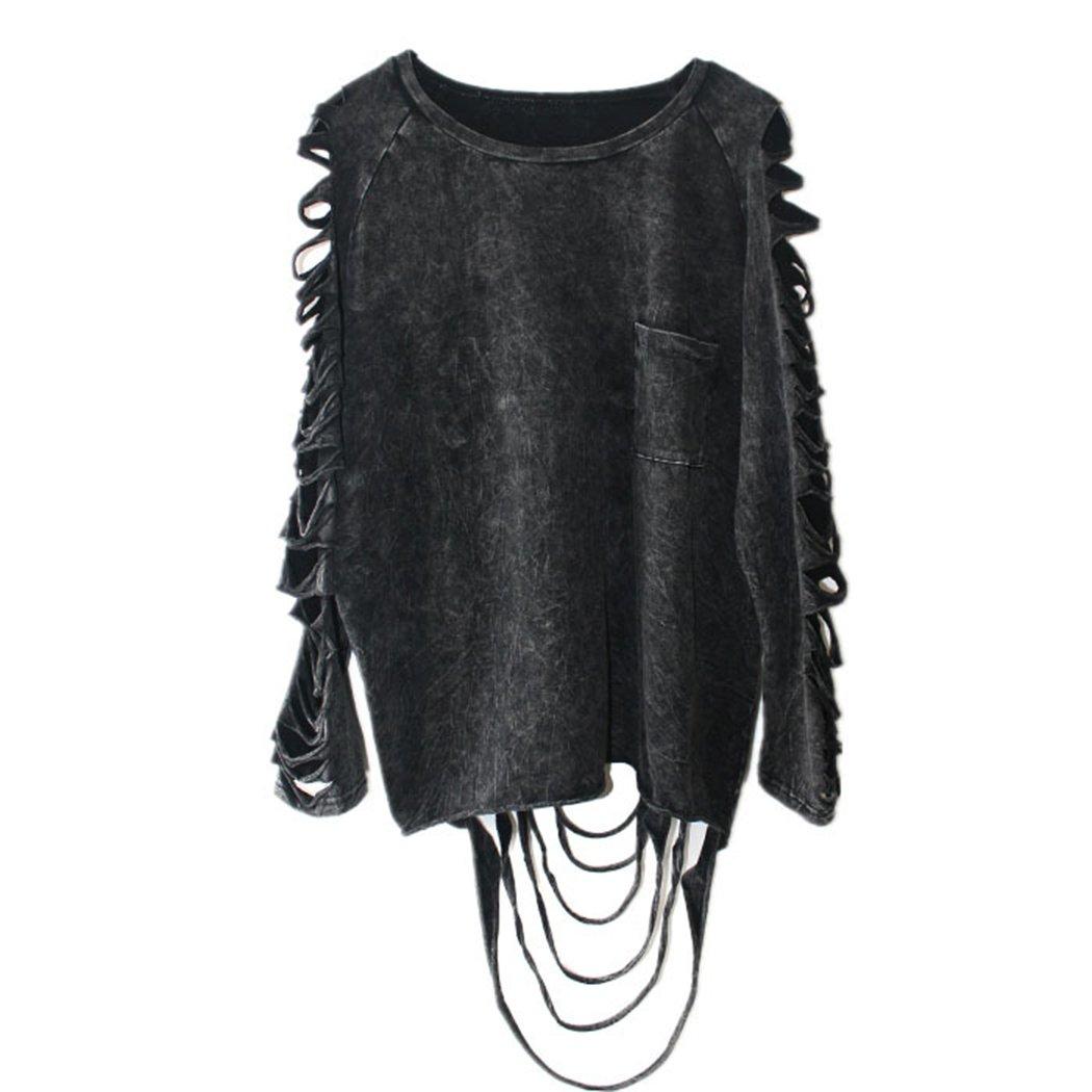 Anna-Kaci Edgy Street Wear Mineral Wash Distressed Faded Long Sleeve T Shirt ZJ2105