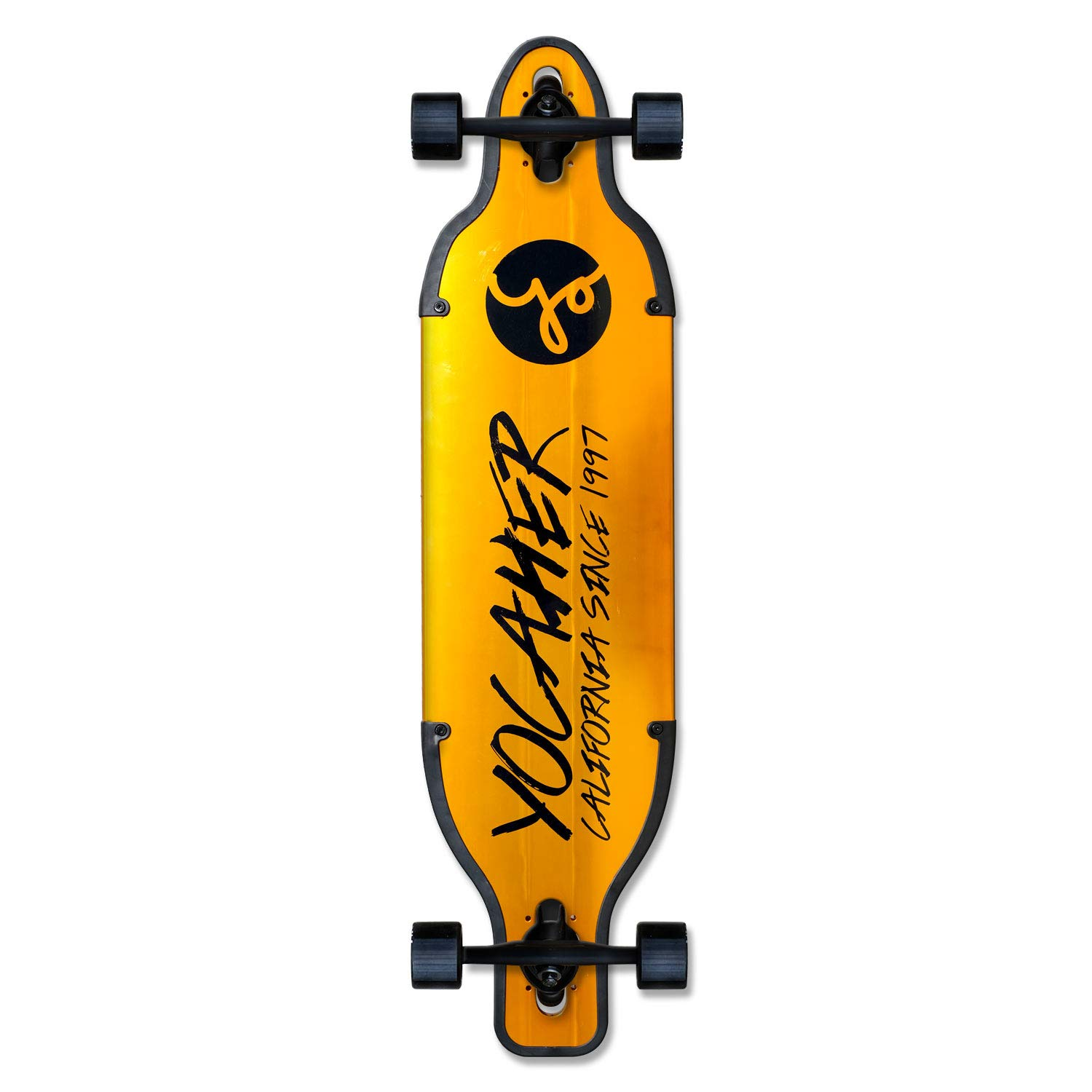 Yocaher Aluminum Drop Through Complete Longboard - Gold and Black - 36 inch Boards (Gold)