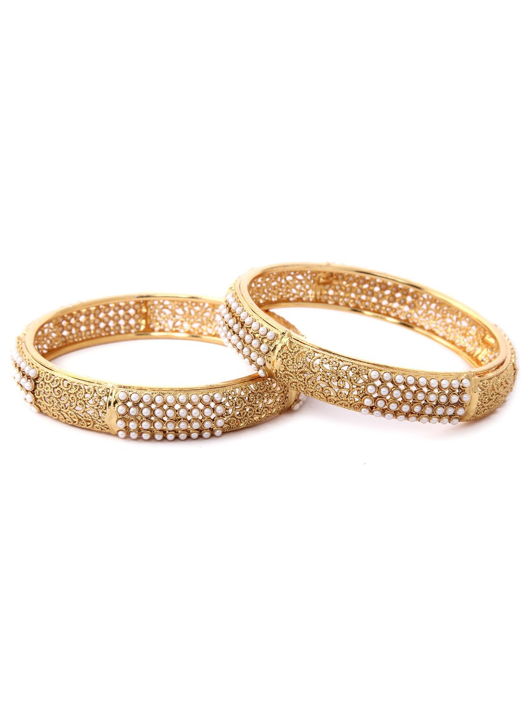 Rubans Filigree Gold Plated Traditional Indian Jewelry Bollywood Ethnic Wedding Bridal Pearls Set of 2 Bangles for Women 2.4