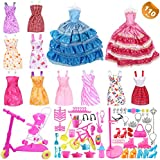 EuTengHao 110Pcs Doll Clothes and Accessories for Barbie Dolls Contain 10 Different Party Gown Outfits Dresses, 2 Handmade Doll Wedding Party Dresses and 98 Different Doll Accessories for Xmas Gift