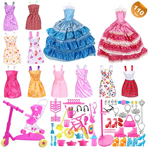 EuTengHao 110Pcs Doll Clothes and Accessories for Barbie Dolls Contain 10 Different Party Gown Outfits Dresses, 2 Handmade Doll Wedding Party Dresses and 98 Different Doll Accessories