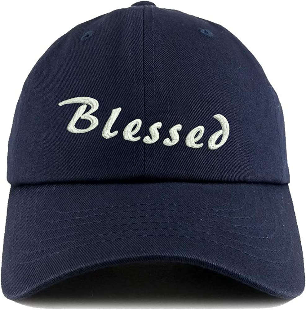 N-A Dark Blue Baseball Hats for Men Dad Caps with Embroidery Adjustable Hat Blessed