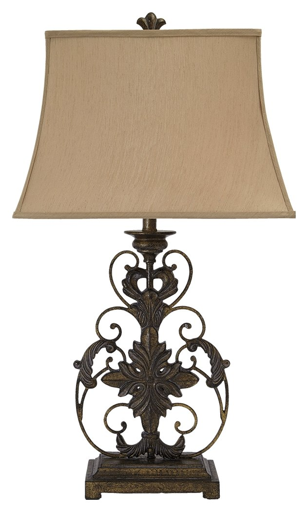 Ashley Furniture Signature Design -Sallee Ceramic and Metal Ornate Table Lamp - Gold Finish