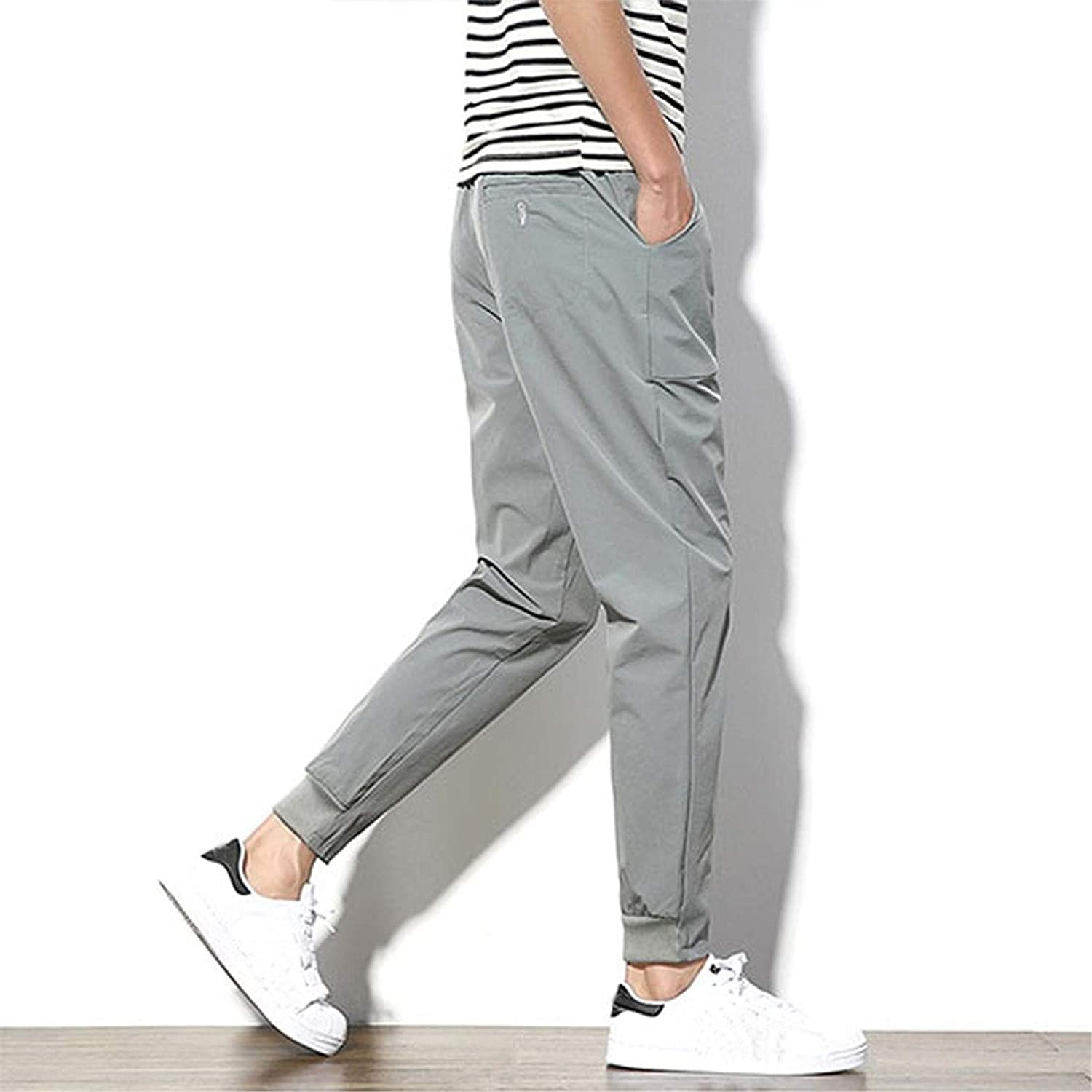 Solid Color Slim Fit Drawstring Straight Fit Pant Pocket Linen Long Trouser wodceeke Casual Pants for Men