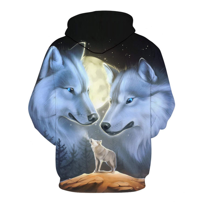 EspTmall Wolf Hoodies Men//Women 3D Sweatshirts Print Double Wolf Hoody Hooded Hoodies Tracksuits Tops Picture Color XXXL
