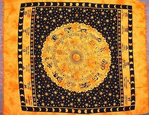 Astrological Tapestry-Spread-Throw-Coverlet-Zodiac-82'' x 92''-Saffron