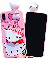 3D Hello Kitty Soft Silicone Protector Case Gel Shockproof Peeking Friend Phone Cover with Lanyard Strap