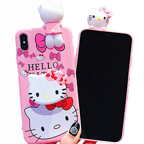 3D Hello Kitty Soft Silicone Protector Case Gel Shockproof Peeking Friend Phone Cover with Lanyard Strap & Hand Holder Stand ~ Estuche Fundas Cobertor ...