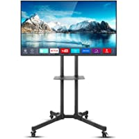 UNHO Mobile TV Stand with Wheels Height Adjustable TV Floor Mount Stand Universal TV Cart Stand with Two Floating Shelf…