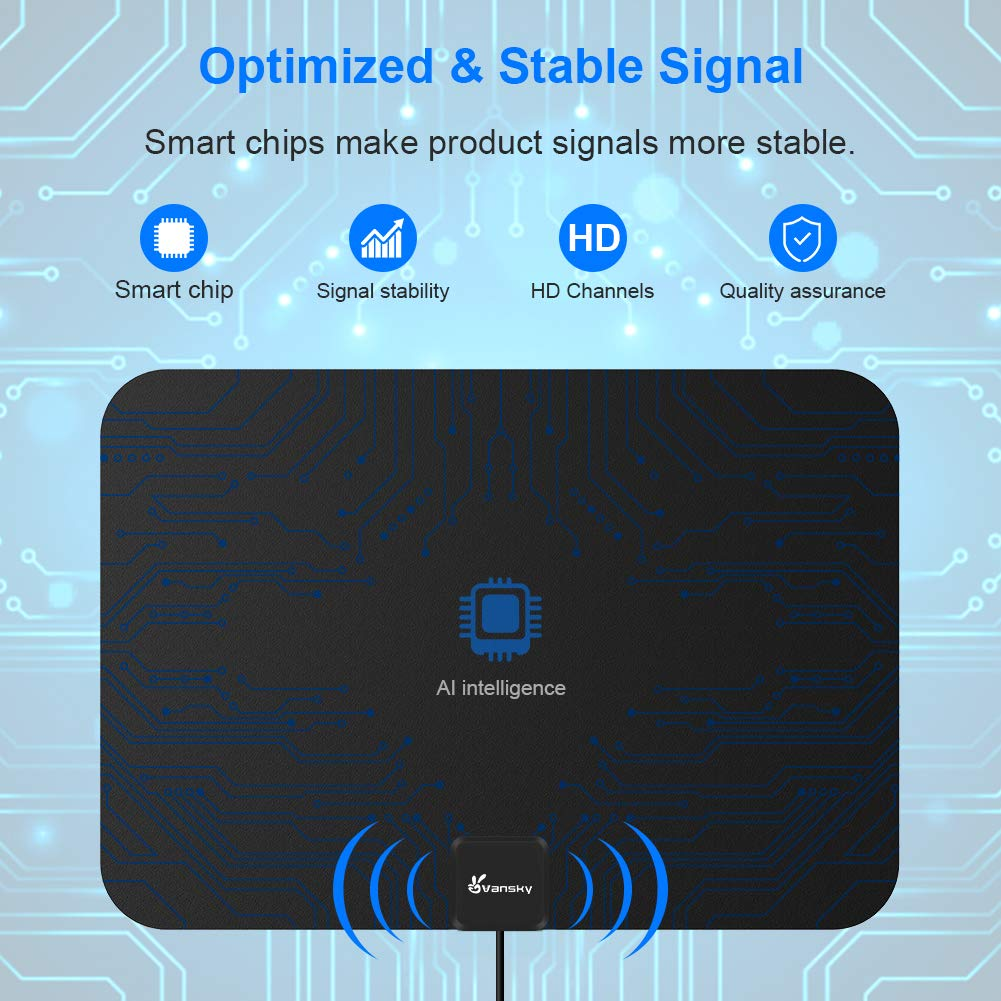 HDTV Antenna - Vansky Digital Amplified HD TV Antenna 2019 upgarded 60-90  Mile Range 4K HD VHF UHF Freeview Television Local Channels Detachable