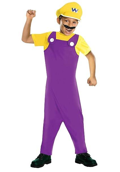 Amazon.com: Super Mario Bros Wario disfraz niño, M, Blanco ...