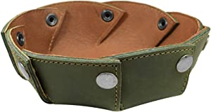Hide & Drink, Thick Leather Catchall Circular Valet Tray, Dice Holder, Cash Holder, Key Organizer, Home and Office Accessories, Handmade - Dark Jade