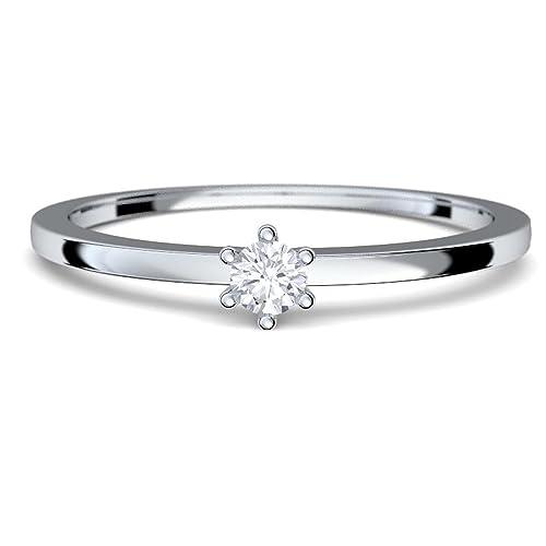 Anillo oro blanco diamante 0.05 carat H/SI diamante solitario fino oro blanco anillo 585