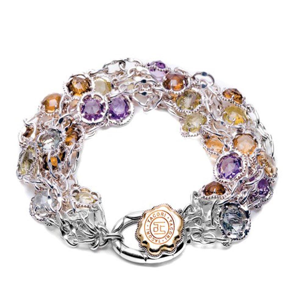 Tacori SB100Y Color Medley Cascading Gem Sterling Silver Multi Stone Bracelet, 8''