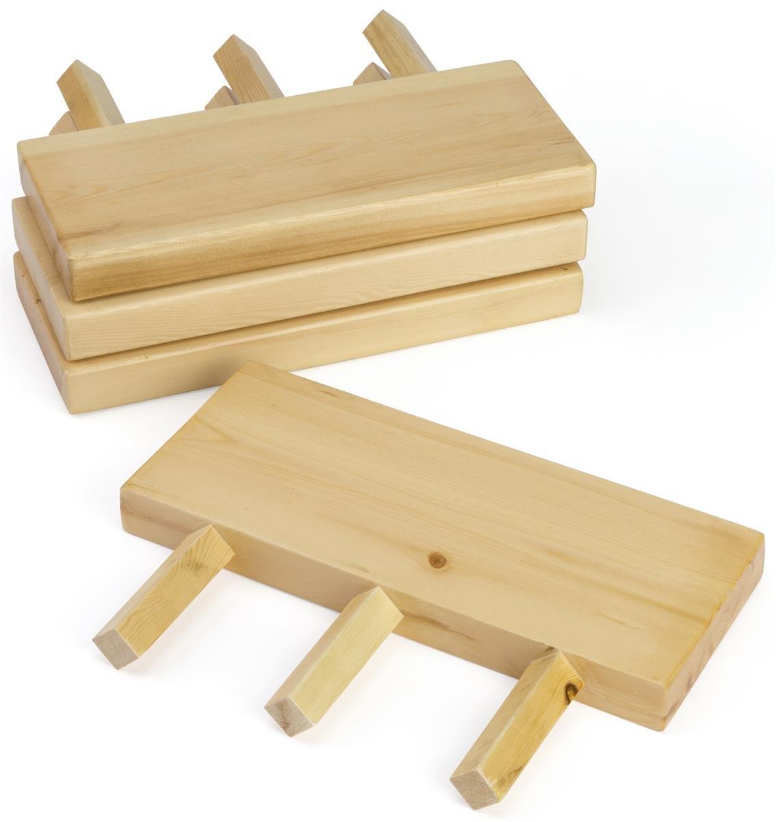 Displays2go 14'' w x 6'' d Dowel Peg Slatwall Shelves, Set of 4 - Natural Wood Finish (CRSSHLFST4)