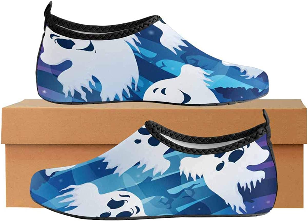 INTERESTPRINT Mens Water Shoes Mysterious Forest Beach Swim Shoes Quick Dry Aqua Socks Pool Shoes