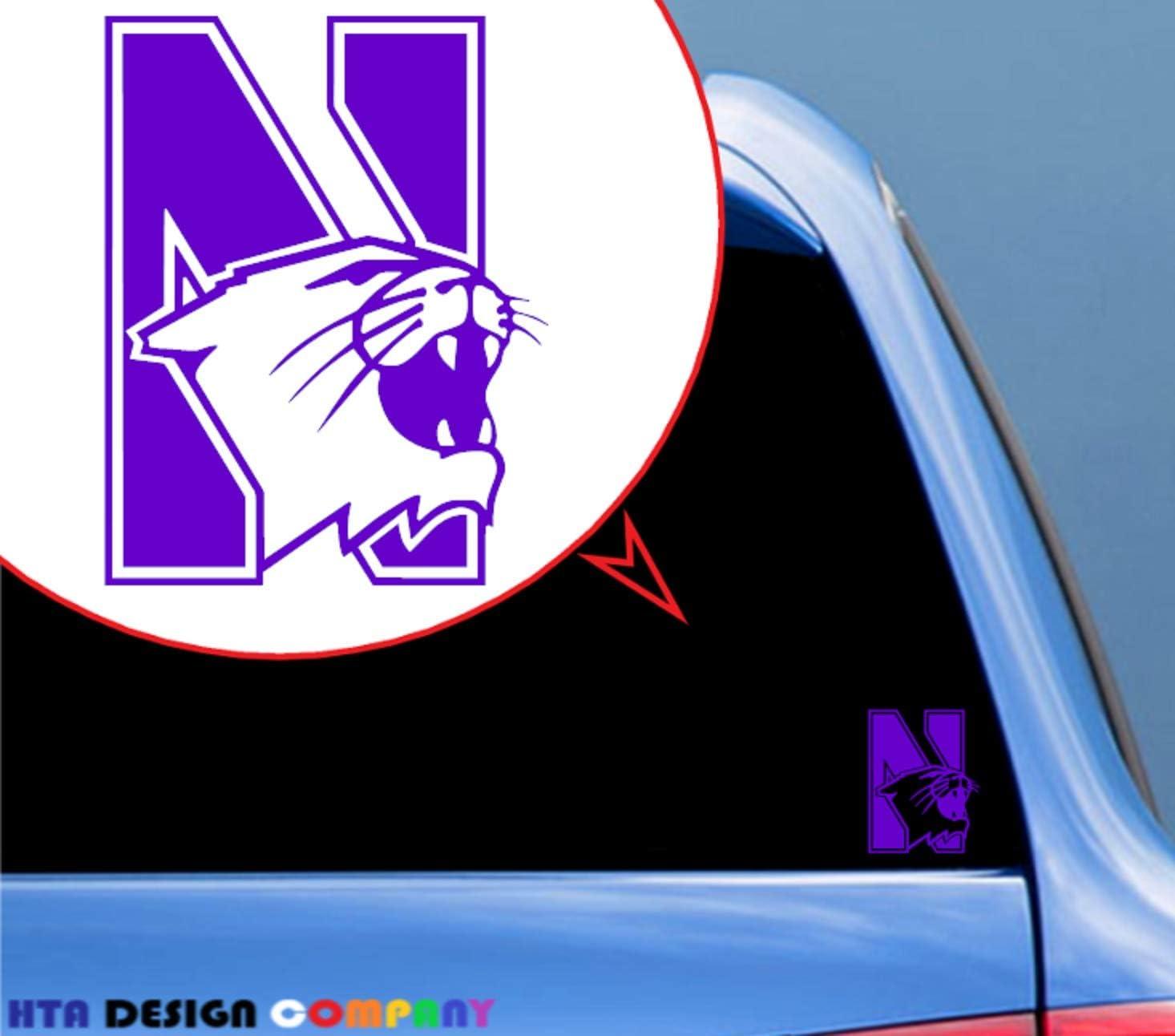 HTA Custom Decals Northwestern University Wildcats/Vinyl Transfer Sticker Decal for Car/Truck/Jeep/Window/Bumper/Laptop/Phone Decor/Home Decoration/Motorcycle(4 in x 5 in) - Purple