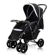 Costzon Infant Stroller Two Way Foldable Baby Toddler Pushchair w/Storage Basket (Black)