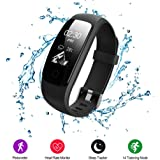 Fitness Trackers,Voberry IP67 Waterproof Smart Bracelet with 14 Sport Modes,Bluetooth Activity Tracker Smartwatch with Pedometer Heart Rate Monitor Calorie Counter Sleep Monitor Call/SMS Reminder for Android and IOS(Black)