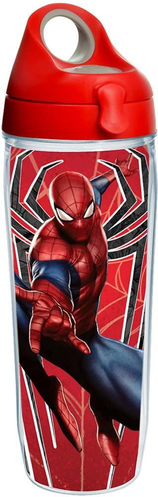 Tervis 1224645 Marvel - Spider-Man Red Spider Tumbler with Wrap and Red with Gray Lid 24oz Water Bottle, Clear