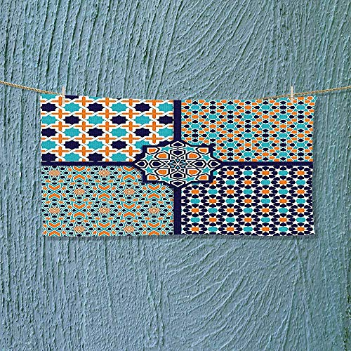Nalahome Swimmer Towel Different Islamic Ornate Mosaic Patterns Historical Lines Heritage Culture Print Blue Orange White Moisture Wicking L35.4 x W11.8 inch by Nalahome