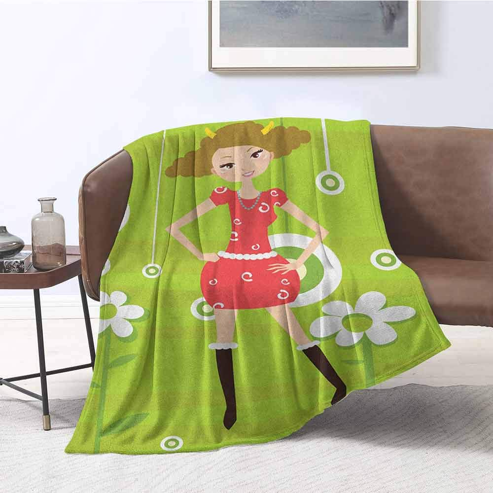 zojihouse Zodiac Taurus Twin Size Blanket Fashion Taurus Young Girl Standing on Green Floral Backdrop Teenage Cartoon W71xL90.5 Multicolor