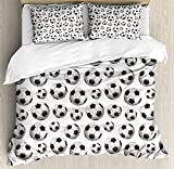 Boy's Room Queen Size Duvet Cover Set by Lunarable, Pattern with Vivid Graphic Soccer Balls Sports Icon Athletics Hobbies, Decorative 3 Piece Bedding Set with 2 Pillow Shams, Charcoal Grey White