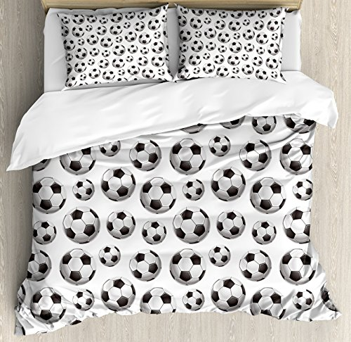 Boy's Room Queen Size Duvet Cover Set by Lunarable, Pattern with Vivid Graphic Soccer Balls Sports Icon Athletics Hobbies, Decorative 3 Piece Bedding Set with 2 Pillow Shams, Charcoal Grey White by Lunarable