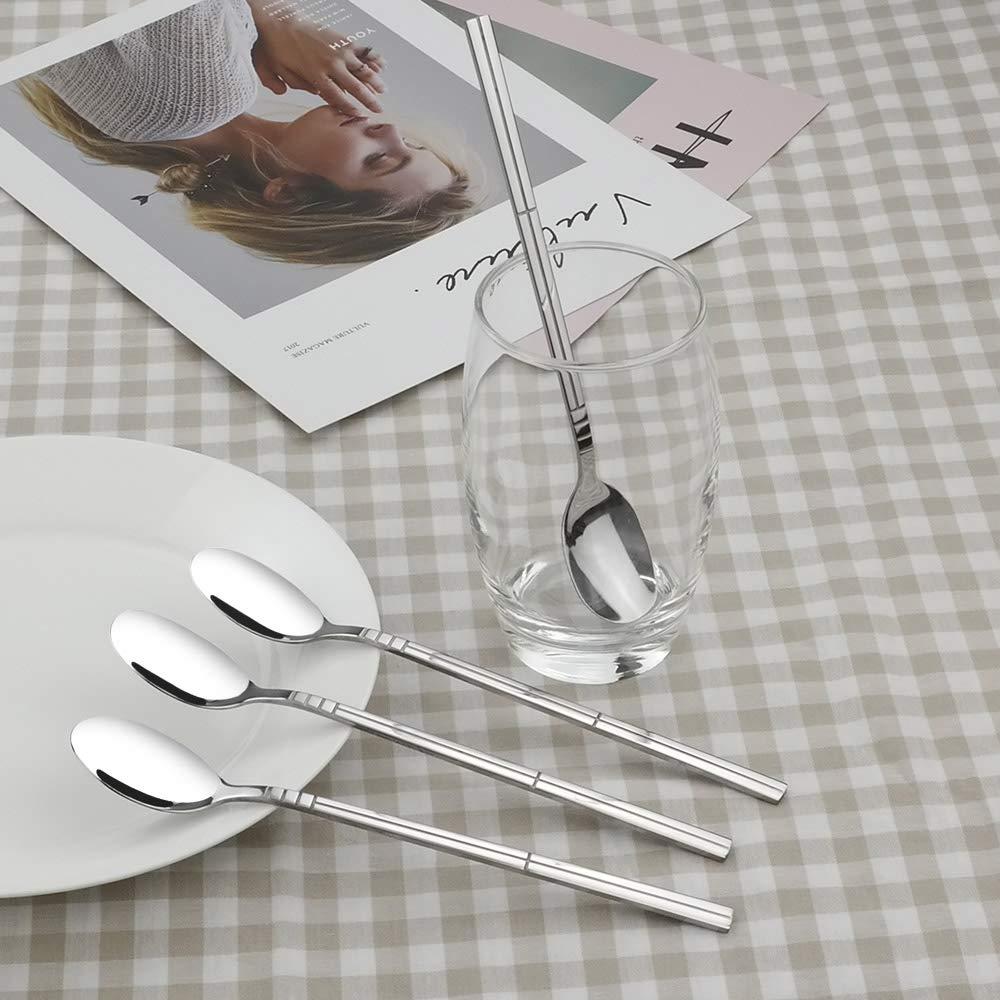 Saedy Stainless Steel Long Handle Spoon 12 Piece Ice Tea Spoon