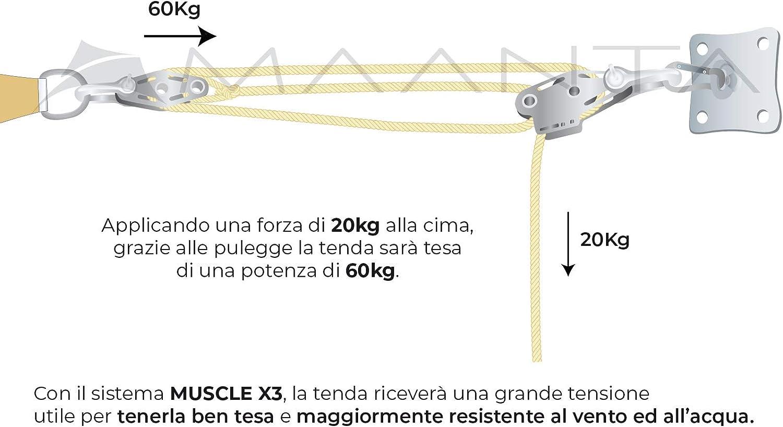 Maanta Muscle Ancoraggio Tenda a Vela 1 Pezzo Beige