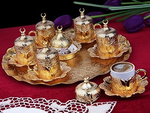 26 Pieces Ottoman Turkish Greek Arabic Coffee Espresso Customer Serving Cup Saucer Set,Gold