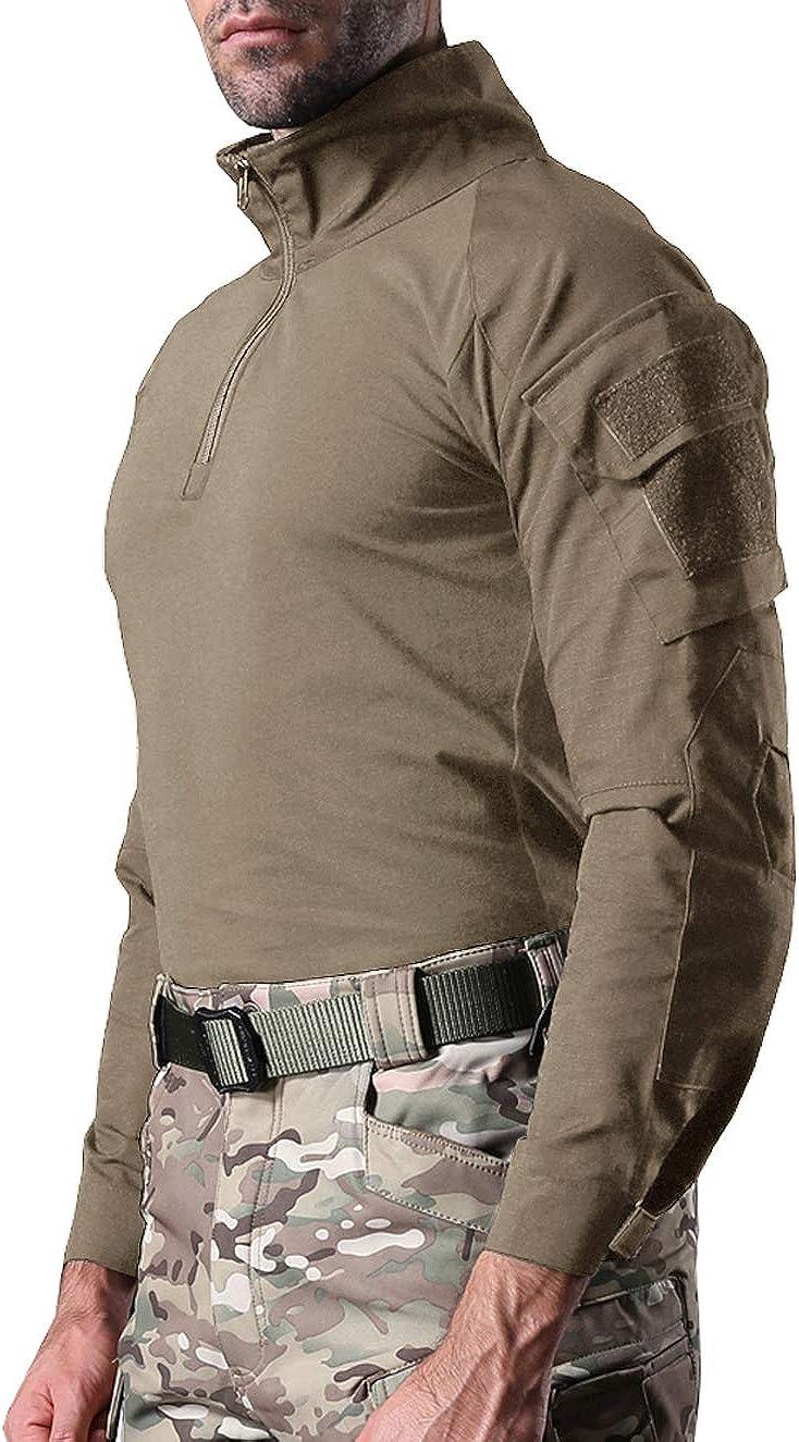 KEFITEVD Men's Slim Fit Military Tactical Long Sleeve Shirt 1/4 Front Zip Camouflage Airsoft Shirts Outdoor Combat t Shirt Khaki