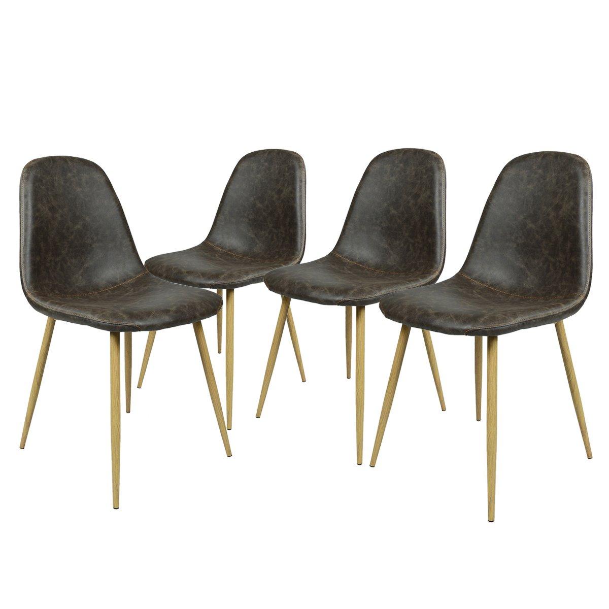 Innovareds - Set di 4sedie per sala da pranzo, stile vintage, gambe in metallo finto legno, colore marrone