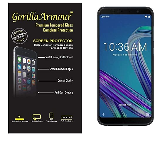 Gorilla Armour Premium Tempered Glass for Asus Zenfone Max Pro M1 | 9H+ Strong, 0.3 mm, Chemically Strong Tempered Glass only for: Asus Zenfone Max Pr