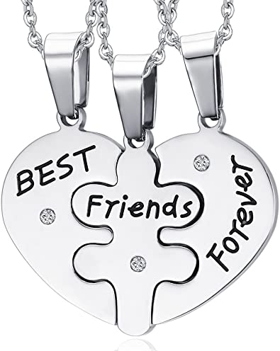 Huanian Best Friends Forever Three Part Necklace Friendship Necklace With The Beautiful Gift Bag 19 7 Chain Amazon Com