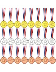 TUPARKA 36 Pcs Winner Medals Kids Plastic Gold Medals Silver Medals and Bronze Medals for Kids Party Favor Decorations and Sports Awards