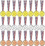 TUPARKA 36 Pcs Winner Medals Kids Plastic Gold Medals Silver Medals and Bronze Medals for Kids Party Favor Dec