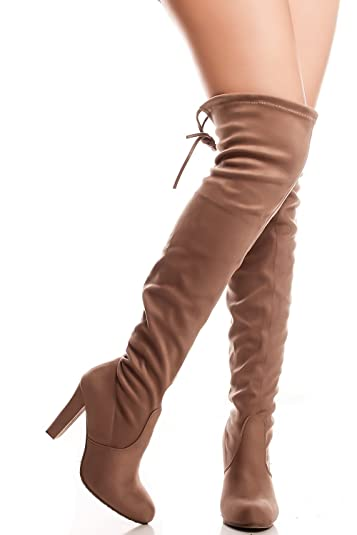 10e45b9fd3b Amazon.com   Forever Link FAUX LEATHER LACE UP LONG COMBAT STYLE WITH HEEL  KNEE HIGH LONG BOOTS   Boots