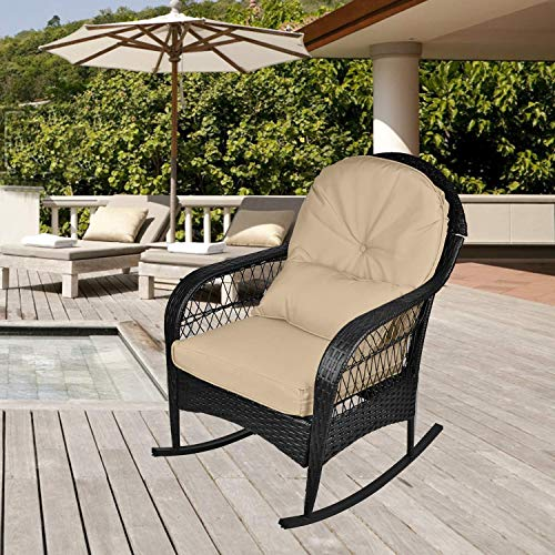 Grepatio Wicker Rocking Chair – Rural Style Outdoor Wicker Rocker Chair with 3 Cushions, All Weather Resistant Furniture for Porch, Patio, Yard (Khaki-Black)