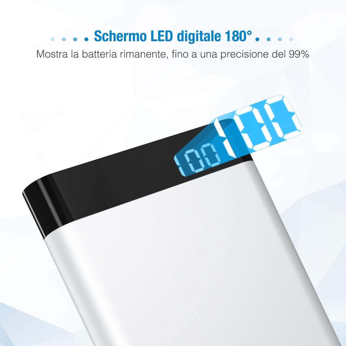 POWERADD Virgo II Powerbank Batteria Portatile 10000mAh con 2 Uscite, Caricabatterie Portatile con display LED, Entrata Lightning + Type-C per iPhone X / 8/7 / 6, Samsung S9 / S8 + e tanti altri - ARGENTO