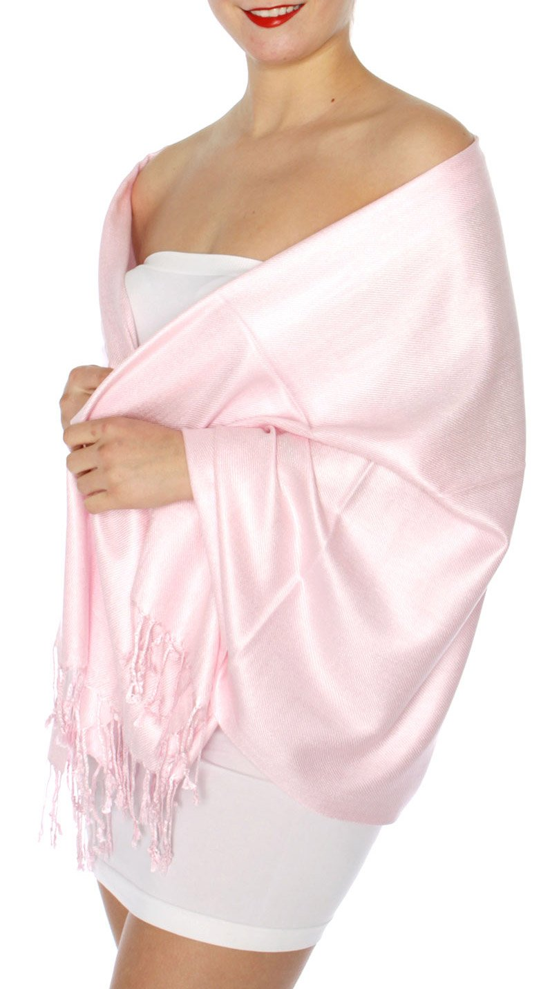 SERENITA Women's Silky Solid Pashmina Style 32 L Pink, One Size by SERENITA (Image #1)