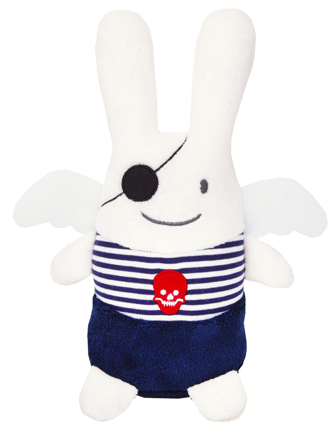 TROUSSELIER - Peluche Ange Lapin pirate - Weiß - 26 cm