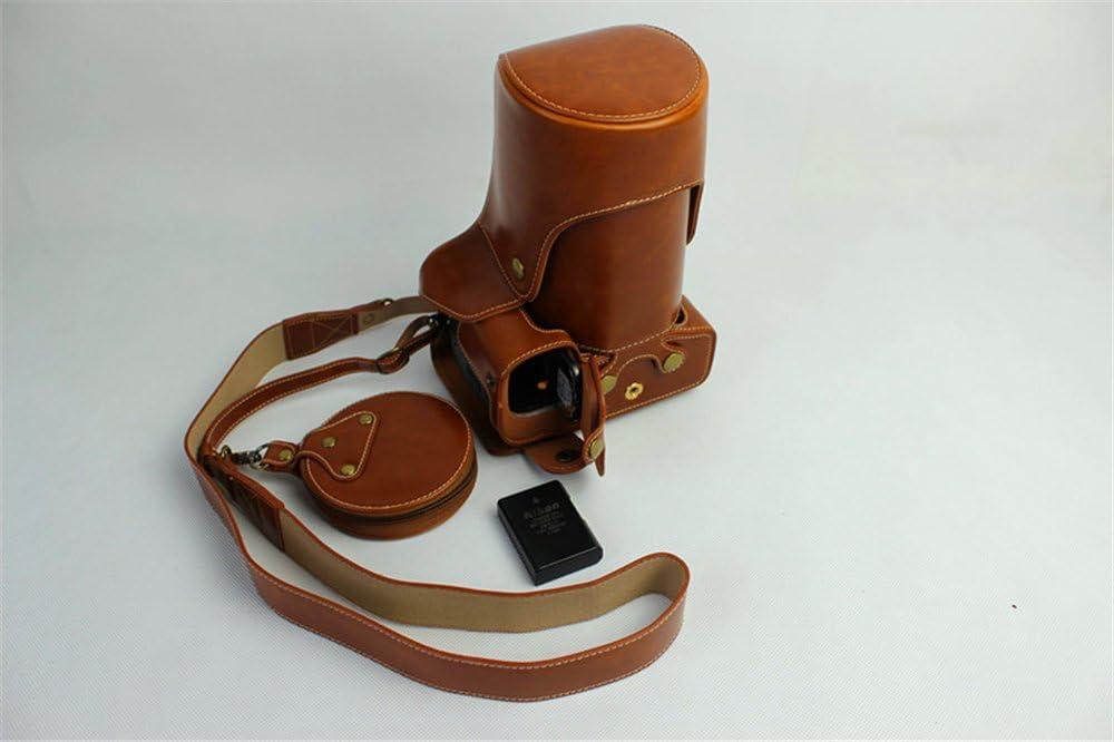 Nikon D500 Case Neck Strap BolinUS Handmade PU Leather FullBody Camera Case Bag Cover for Nikon D500 with 18-300mm lens Bottom Opening Version Mini Storage Bag -Black