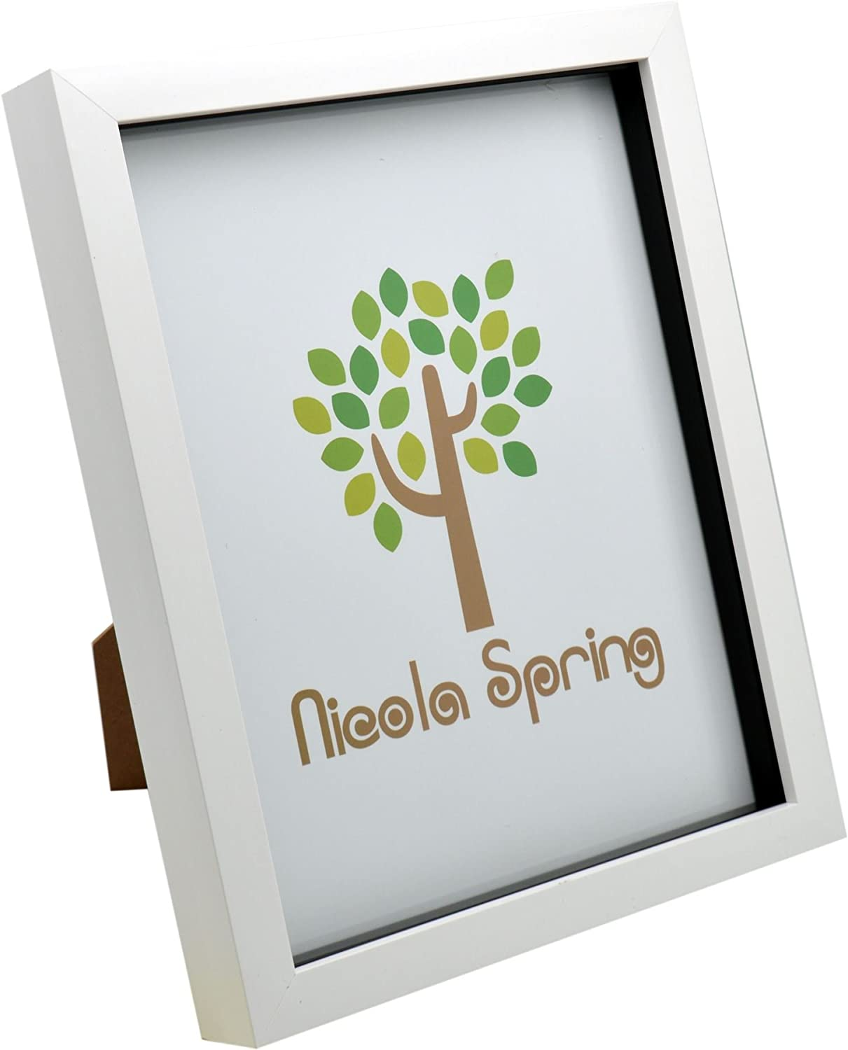 Nicola Spring White 8x10 Box Photo Frame - Standing & Hanging
